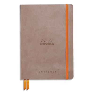 Carnet souple Rhodiarama - 14,8 x 21 - 240 pages - points Dot - avec élastique - couverture simili-cuir taupe