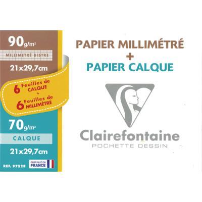 Feuilles Clairefontaine - 70g - pochette de 12 - 6 papier millimétré + 6 feuilles calques