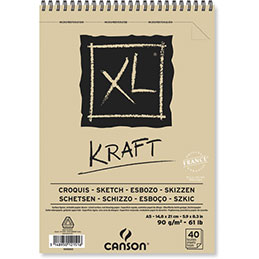 Papier dessin Canson XL Kraft - 90 g - A5 - album spiralé 40 feuilles (photo)