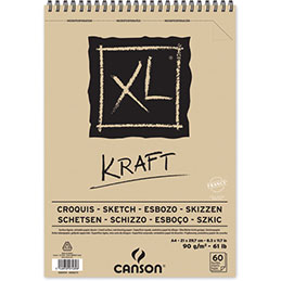 Papier dessin Canson XL Kraft - 90 g - A4 - album spiralé 60 feuilles (photo)
