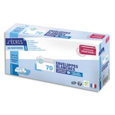 Enveloppes DL 110 x 200mm GPV - blanches - auto-adhésives - 80 g - NF PEFC - paquet de 70