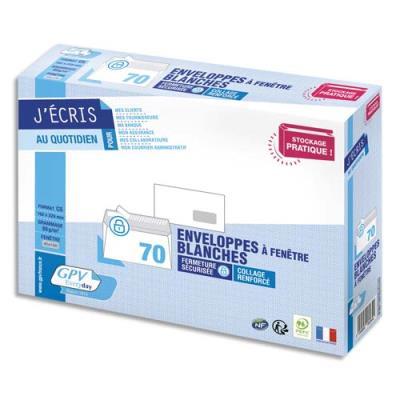 Enveloppes C5 162 x 229 mm GPV - fenêtre 45 x 100 mm - blanches - auto-adhésives - 80 g - NF PEFC - paquet de 70