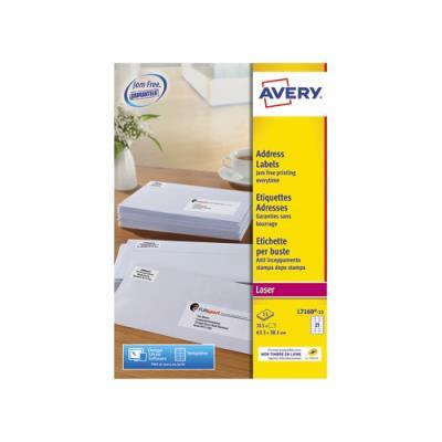 Etiquettes adresse/expédition Avery L7160-15 - 63,5 x 38,1 mm - impression laser - blanc - boîte de 315