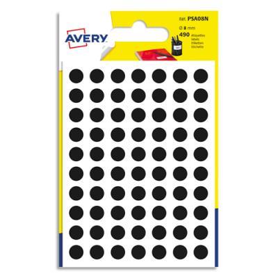 Pastilles Avery - diamètre 8 mm - écriture manuelle - noir - sachet de 490