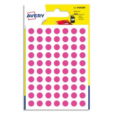 Pastilles Avery - diamètre 8 mm - écriture manuelle - rose - sachet de 490