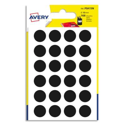 Pastilles Avery - diamètre 15 mm - écriture manuelle - noir - sachet de 168