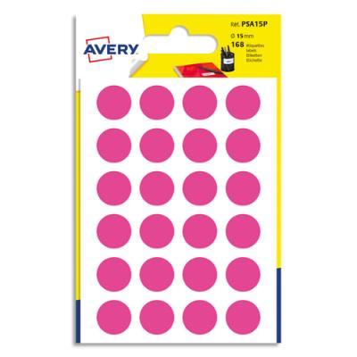 Pastilles Avery - diamètre 15 mm - écriture manuelle - rose - sachet de 168