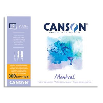 Papier aquarelle Canson Montval - 300 g - 24 x 32 - collé 4 côtés - grain fin - blanc naturel - album spiralé 12 feuilles (photo)