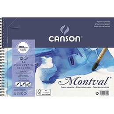 Papier aquarelle Canson Montval - 300 g - A4 - grain fin - blanc naturel - bloc de 12 feuilles (photo)