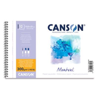 Papier aquarelle Canson Montval - 300 g - 13.5 x 21 - grain fin - blanc naturel - bloc de 12 feuilles (photo)