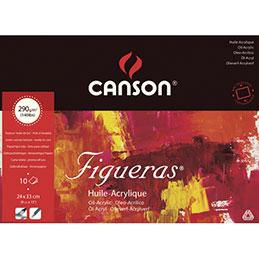 Papier peinture à l'huile Canson Figueras - 290 g - 24 x 33 - collé 4 côtés - grain toile - blanc - bloc de 10 feuilles (photo)