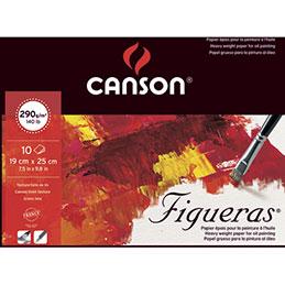 Papier peinture à l'huile Canson Figueras - 290 g - 19 x 25 - collé 1 côté - grain toile - blanc - bloc de 10 feuilles (photo)