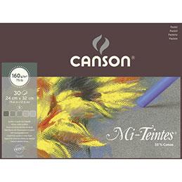 Papier pastel Canson Mi Teinte - 160 g - 24 x 32 - collé 1 côté - gris assortis - bloc de 30 feuilles (photo)