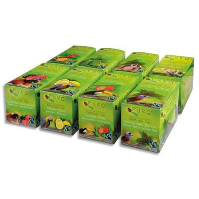 Sachets thés Puro Earl grey - vert, fraise, citron, fruit bois et églantier, rooibos, menthe - 8 boîte de 25 sachets (photo)