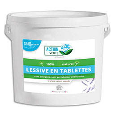 Tablettes lessive Action Verte - hydrosolubles - concentrées parfumées pour linge - seau de 160 (photo)