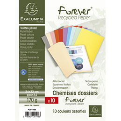Chemises Exacompta Forever - en carte - 170 g - coloris assortis - paquet de 10 chemises
