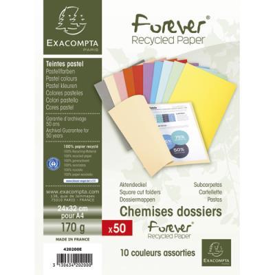 Chemises Exacompta Forever - en carte - 170 g - coloris assortis - paquet de 50 chemises