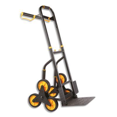 Diable d'escalier Safetool - en tube d'acier - 200kg - L65,3 x H115 x P52,5 cm - bavette L35 x P28 cm - noir et jaune