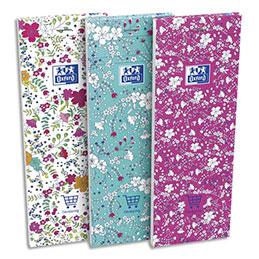 Bloc Oxford Floral - agrafé en tête - 7,4 x 21 cm - ligné 6 mm - 160 pages - coloris assortis