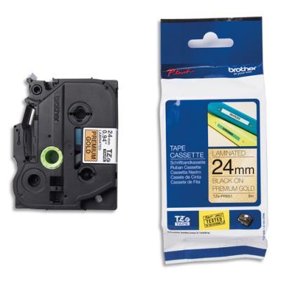 Ruban Brother Tze-PR851 - laminé - 24 mm x 8 m - noir sur fond or premium