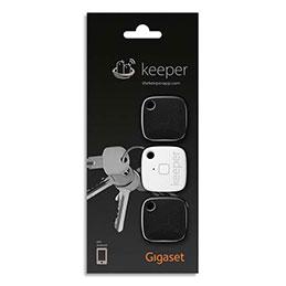 Porte-clés connecté Gigaset Keeper - 2 noir/1 blanc - pack de 3 (photo)
