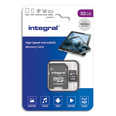 Carte Micro SDHC Integral + adaptateur 32 Go Class 10 (photo)
