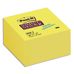 Bloc cube Post-it  350 feuilles Supersticky 7.6 x 7.6 cm jaune jonquille 2028S (photo)