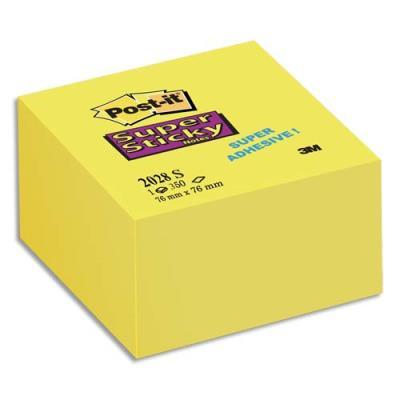Bloc cube Post'it  350 feuilles Supersticky 7.6 x 7.6 cm jaune jonquille 2028S (photo)
