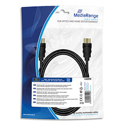 Cable HDMI MediaRange MRCS196 - textile - 2 m - 18 Gbit/s taux tansfert - rapide + Ethernet - male/male - contacts plaqués - noir (photo)