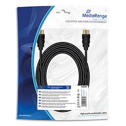 Cable HDMI MediaRange MRCS211 - textile - 5 m - 10,2 Gbit/s taux tansfert - rapide + Ethernet - male/male - contacts plaqués - noir (photo)