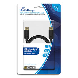 Cable MediaRange DisplayPort MRCS159 - 2 m - 10 Gbit/s taux de tansfert - male/male - contacts plaqués - noir (photo)