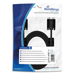Cable moniteur SVGA MediaRange MRCS114 - gain textile - 3 m - avec anneaux ferrite - male/male - noir (photo)