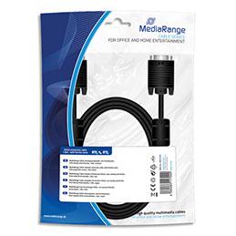Cable moniteur extension SVGA MediaRange MRCS148 - gaine textile - 1,8 m - anneaux ferrite - male/femelle - noir (photo)