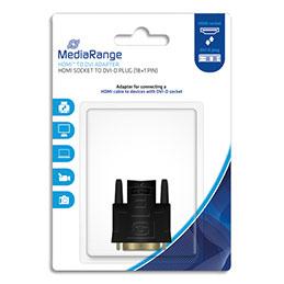 Adaptateur HDMI MediaRange MRCS170 - pour  DVI - DVI-D male (18+1 broches)/HDMI femelle - contacts plaqués - noir (photo)