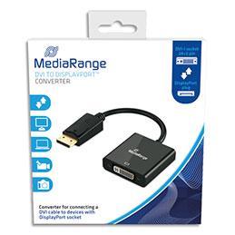 Cable adaptateur DVI MadiaRange MRCS174 - 15 cm - pour DisplayPort - DP male/DVI-I (24+5) femelle - contacts plaqués - noir (photo)