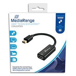 Cable adaptateur HDMI MadiaRange MRCS176 - 15 cm - pour Mini DisplayPort - mini DP male/HDMI femelle - contacts plaqués - noir (photo)