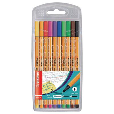 Stabilo Point 88 - 0,4 mm - Pochette de 10 - coloris assortis