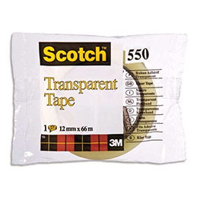 Ruban adhésif Scotch transparent - 12 mm x 66 m - en sachet individuel