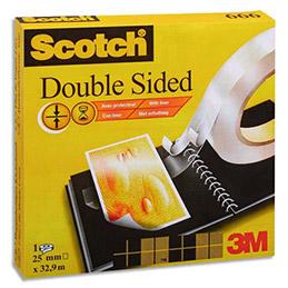 Ruban adhésif double face transparent scotch 19 mm x 33 m pour assemblage définitif film protecteur