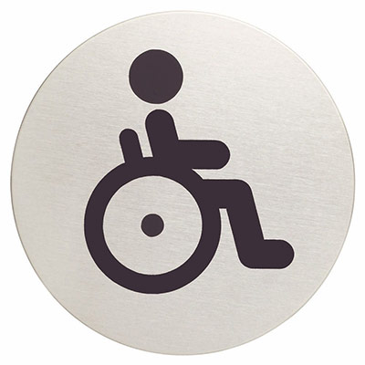 Panneau picto Durable - WC indisponible - 83 mm de diamètre - autocollant - acier inoxydable brossé