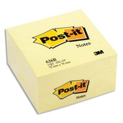 Cube Post'it - 76 x 76 mm - 450 feuilles - jaune (photo)