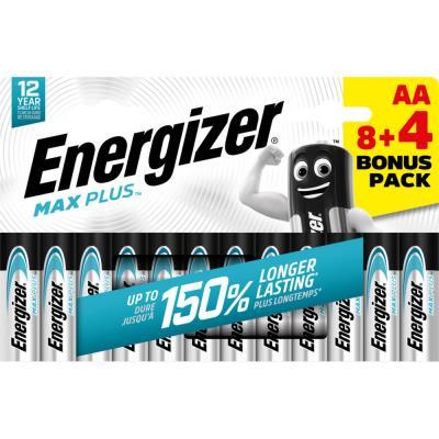Pile alcaline AA / LR6 Energizer Max Plus - pack Promo 8 + 4 GRATUITES - blister 12 unités
