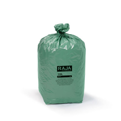 Sacs poubelle Raja écologique - 100% recyclé - 110 litres - 45 microns - diamètre 44.6 x H. 110 cm - vert - carton de 200