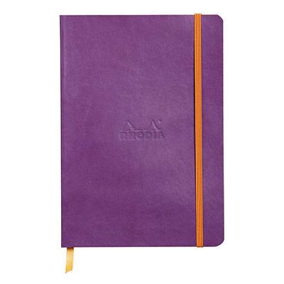 Carnet Rhodia Rhodiarama - couverture simili-cuir - 14,8 x 21 cm - 160 pages - lignées - violet