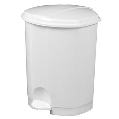 Poubelle pédale plastique - blanc - 18 litres (photo)