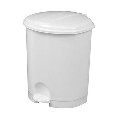 Poubelle pédale plastique - blanc - 7 litres (photo)
