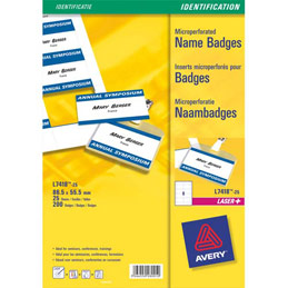 Insert pour badges - microperforé - format 5,5 x 8,6 cm - impression polyvalente - boite de 200 (photo)