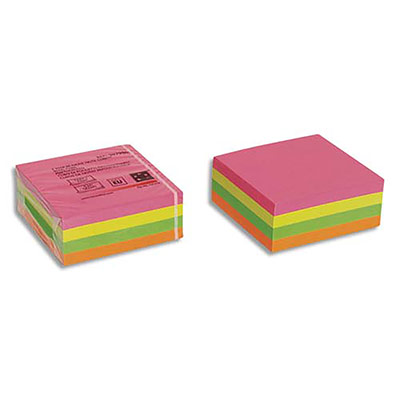 Bloc cube notes repositionnables 5 Etoiles - coloris arc en ciel/néon - 76 x 76 mm - bloc de 320 feuilles (photo)