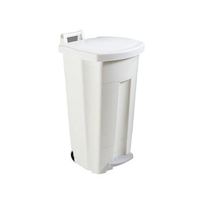 Poubelle mobile à pédale Rossignol - 90 L - plastique blanc (photo)