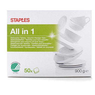 Tablettes lave-vaisselle tout-en-un - hydrosolubles - 50 x 18 g - 3 couches - bleu - jaune et blanc - paquet 50 unités (photo)